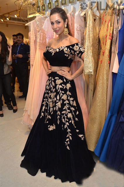 Malaika Arora Khan in Embroidered Lehenga and Off Shoulder Crop Top