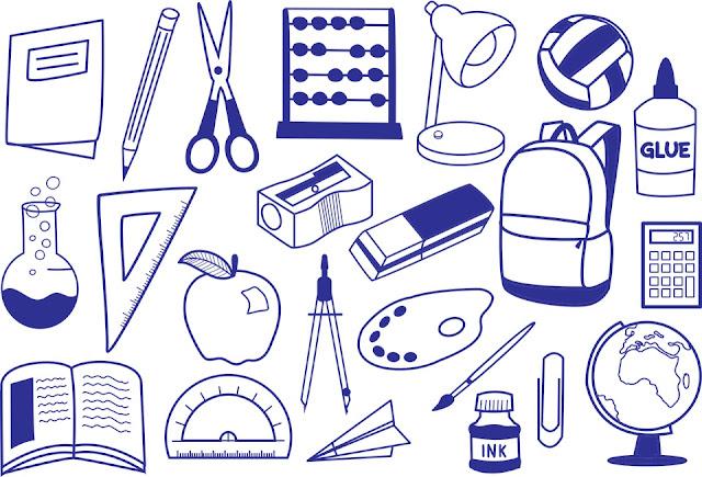 Imagens de material escolar para imprimir e colorir.
