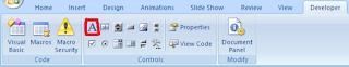textbox pada tab developer powerpoint