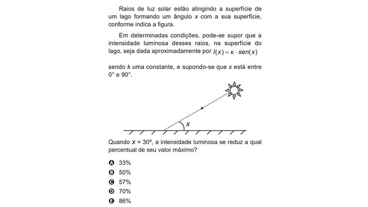 Raios de luz solar estão atingindo a superfície de um lado formando um ângulo x com a sua superfície...