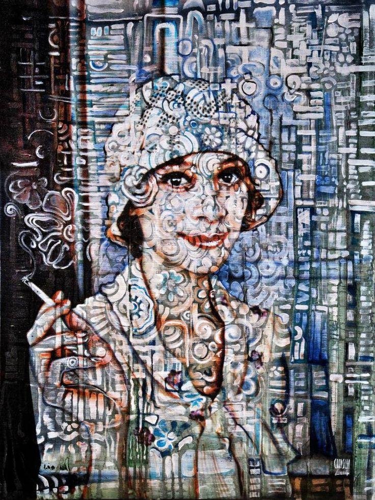 Original Abstract Painting Modern Art Urban mod Face Print by Fidostudio STILL