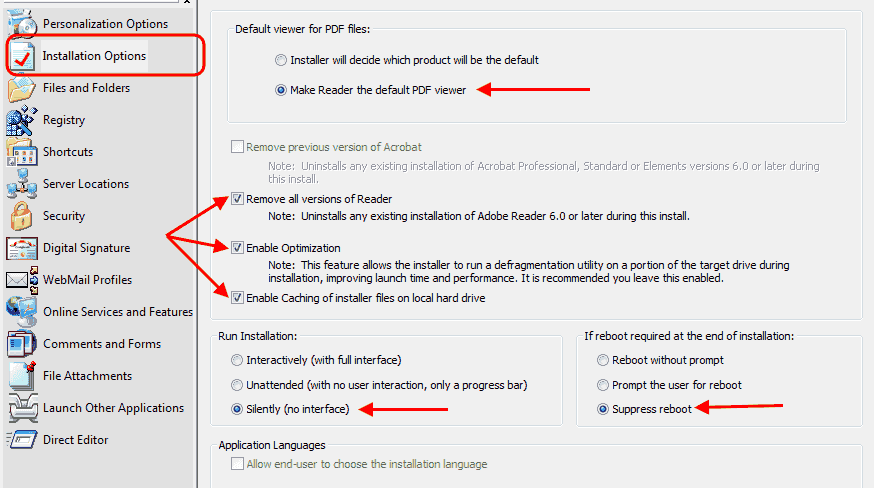 Adobe Customization Wizard XI - Installation Options