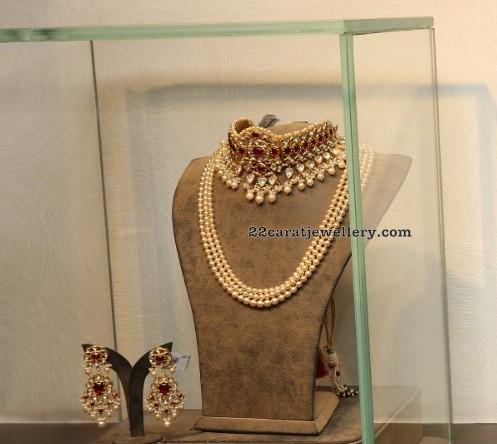 Three Layer Pearls Set Kundan Choker