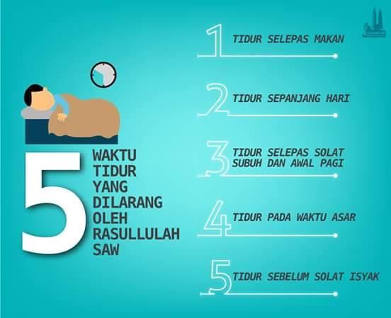 5 waktu dilarang tidur oleh Rasulullah SAW