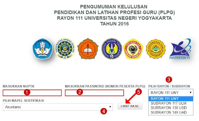 Pengumuman Kelulusan UTN PLPG 2016 Rayon 111 UNY, sub rayon 138 USD, sub rayon 117 ULM, sub rayon 149 UAD