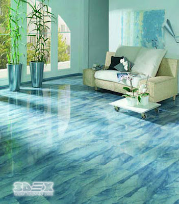 metallic epoxy painted 3D living room floors