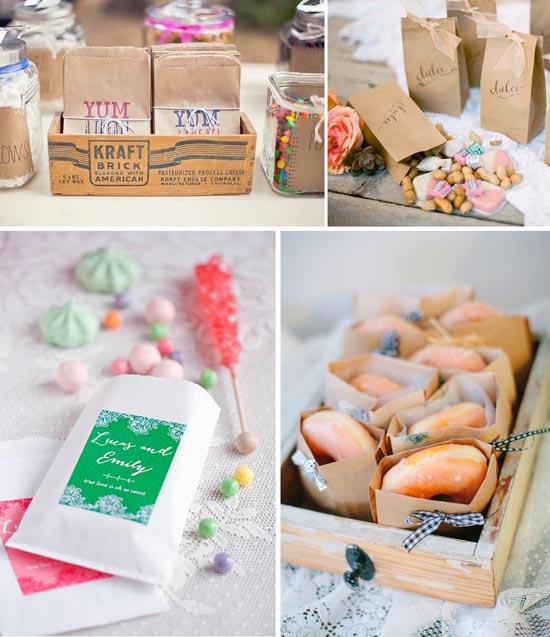 Las bolsas de papel kraft son perfectas para la decoración de mesas dulces en comuniones, bodas, fiestas y cumpleaños  infantiles.