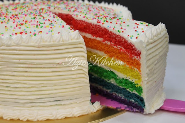 Rainbow Cake Sedap Azie Kitchen