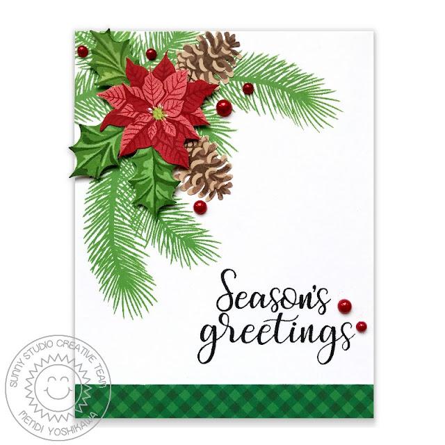 Sunny Studio Stamps: Christmas Trimmings & Petite Poinsettias Season's Greetings Card by Mendi Yoshikawa