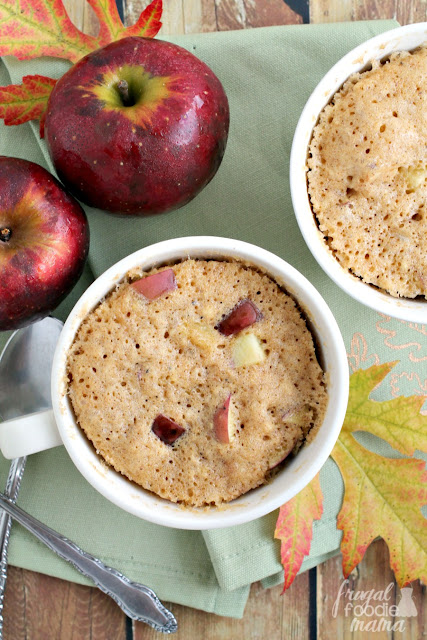 Brimming with chunks of fresh apple & warm chai spices, these Apple Chai Mug Cakes for Two are ready in less than 10 minutes.