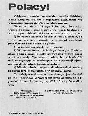 Odezwa władz powstańczych - 1 sierpnia 1944