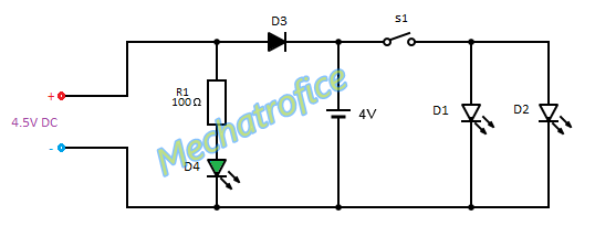 power led emergency light mechatrofice rh mechatrofice blogspot com emergency light circuit diagram ppt emergency light circuit diagram using scr
