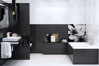 Baño blanco negro