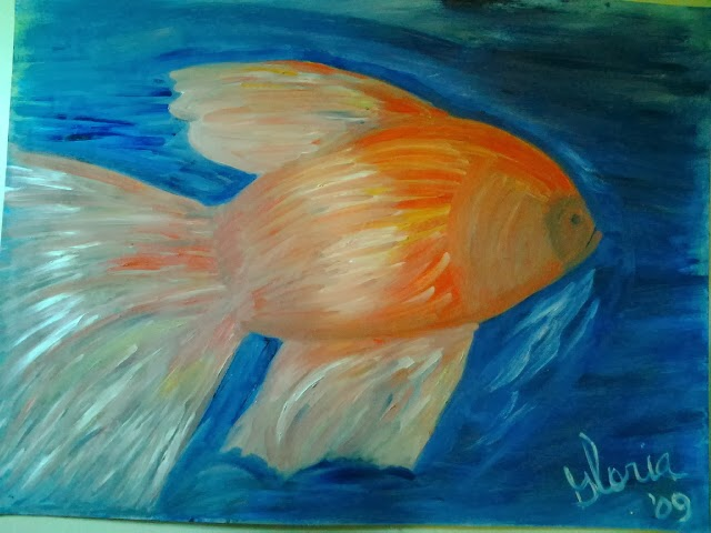 oil painting -goldfish-by Gloria Poole yr 2009