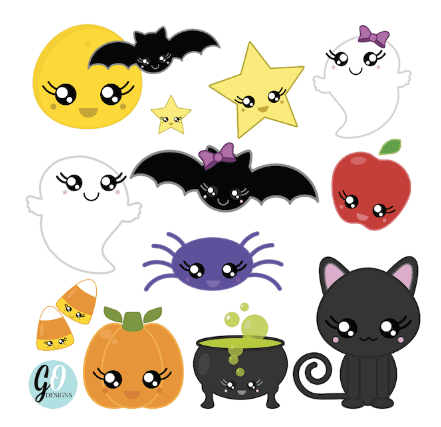 Halloween Kawaii Clipart by Grade ONEderful
