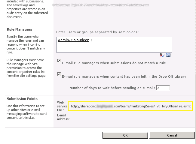 sharepoint 2010 send to url