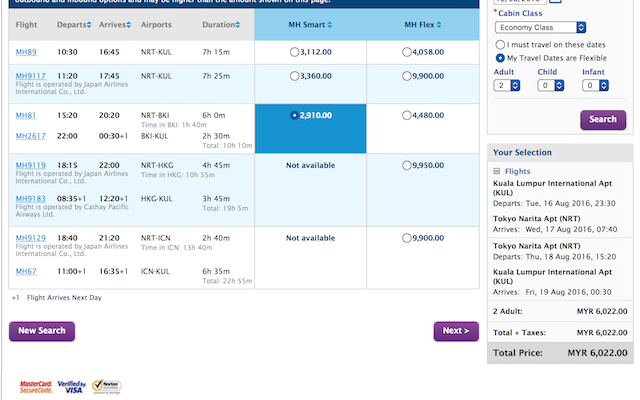 Comparing with booking from Malaysia Airlines website, they want to charge me RM6k !!