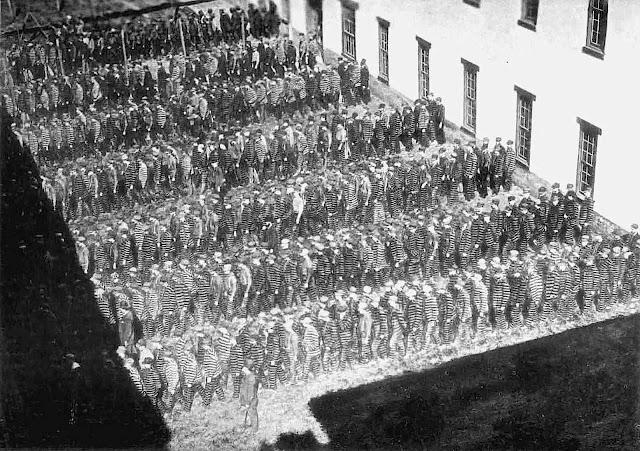 1890 prisonyard lockstep shuffle photograph