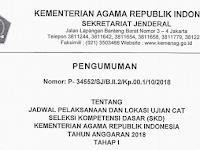 Jadwal Pelaksanaan dan Lokasi Ujian CAT (SKD) Kementerian Agama RI Tahun Anggaran 2018 Tahap 1
