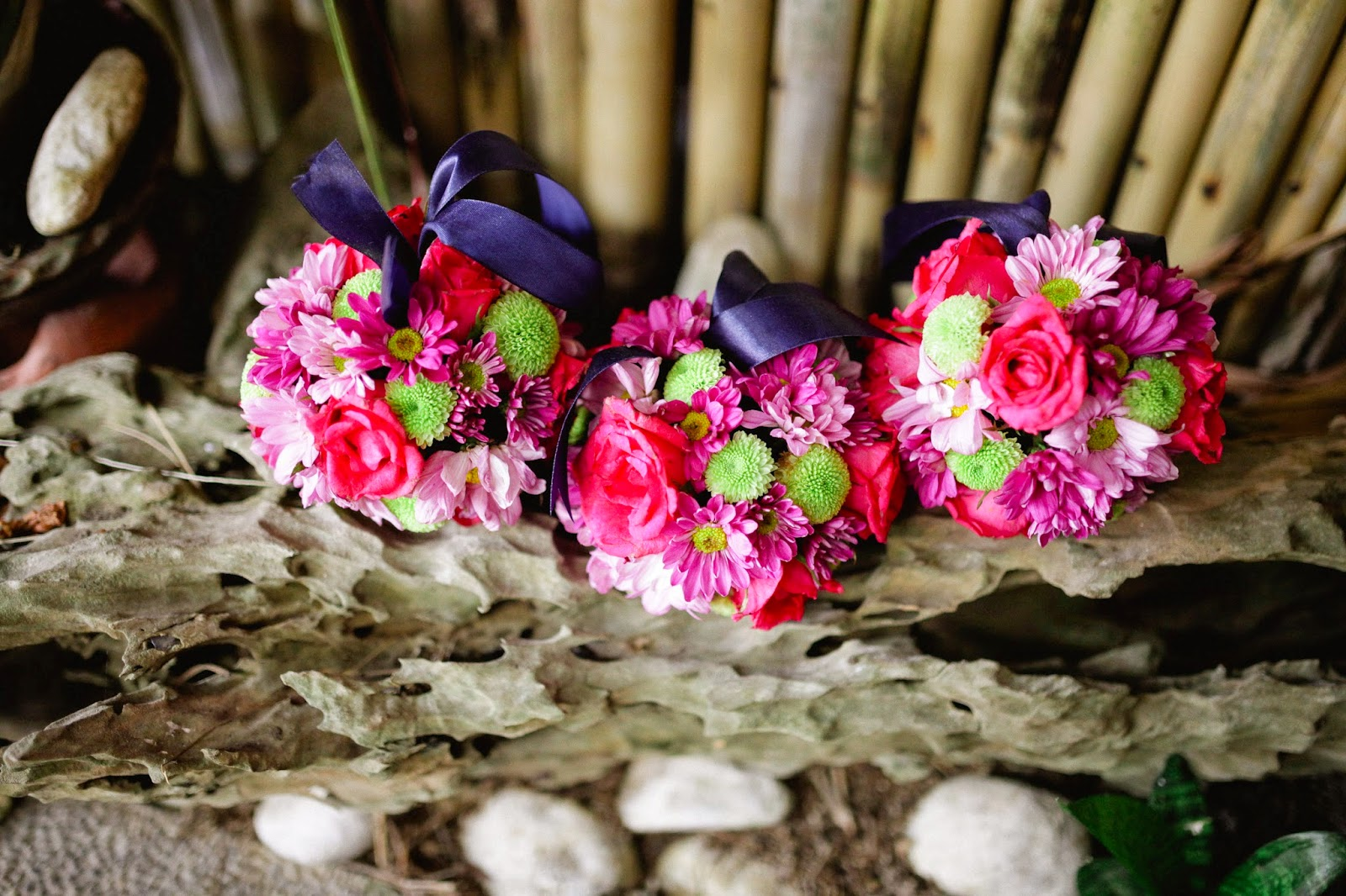 blue pink wedding bouquets