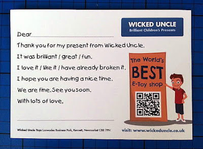 Wicked Uncle Toy Shop thank you card