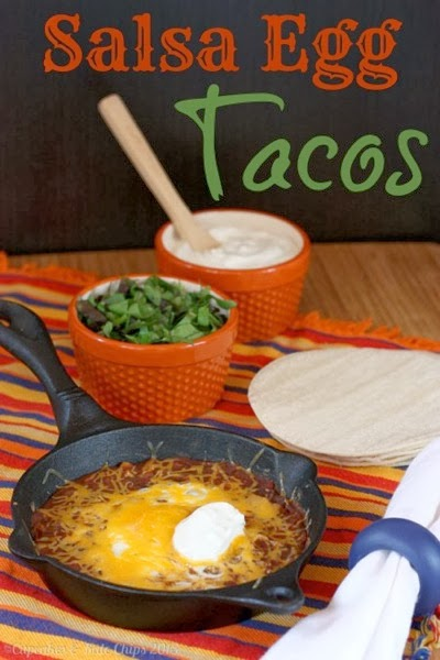 Salsa Egg Tacos from cupcakesandkalechips.com