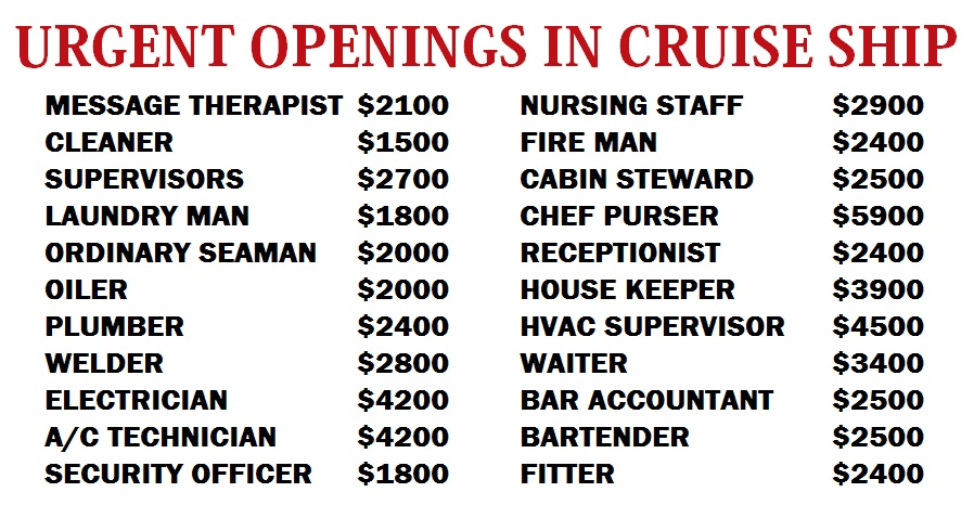 urgent openings in cruise ship