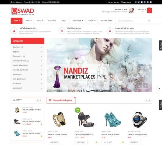 Oswad supermarket online Wordpress Theme