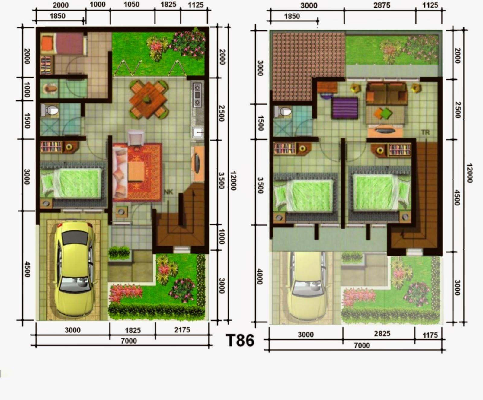 Denah Rumah Minimalis 1 Lantai Ukuran 7x12