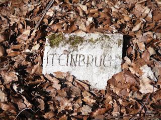 Ein verwitterter Stein, umgeben von Laub. Auf dem Stein steht das Wort Steinbruch