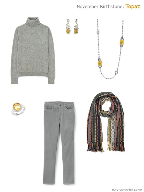 grey outfit with citrine and topaz accessories