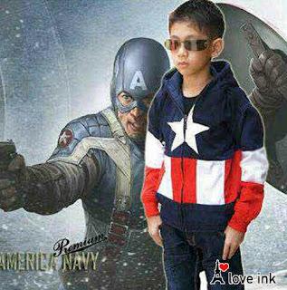 Jaket Anak Captain America Black - Harga Saudara