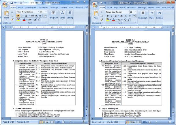 Contoh RPP IPS Perangkat Pembelajaran SMP Kelas 9 (IX) Semester 1