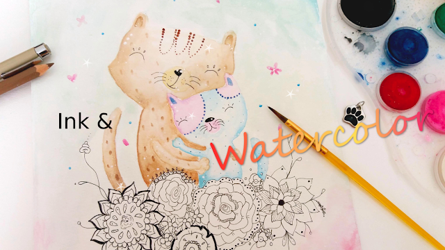 Litte Cats Ink and Watercolor