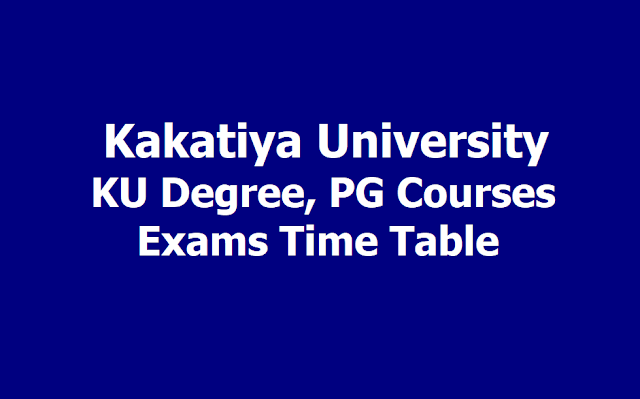 KU Degree, PG Semester wise Exams Time Table