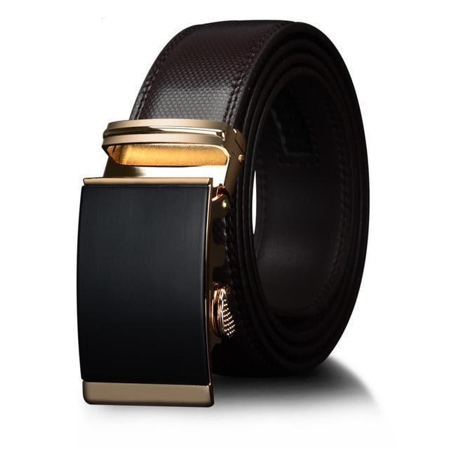 Men's Luxury Metal Automatic Ratchet Leather Belt