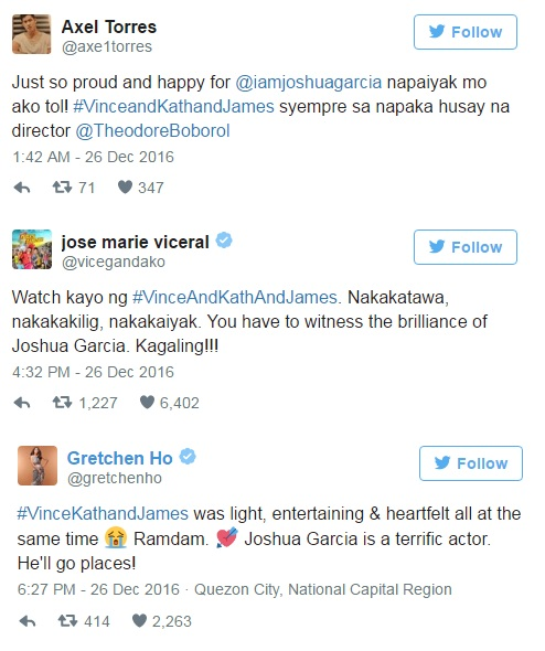 WHOA! This Is What Celebrities Had To Say About Joshua's Acting In Vince & Kath & James!