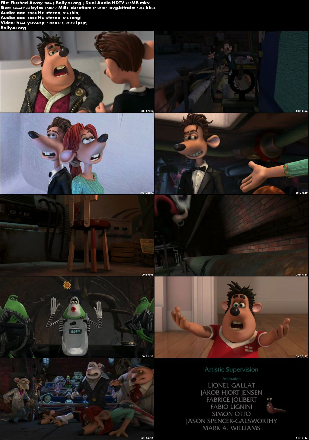Flushed Away 2006 HDTV 700Mb Hindi Dual Audio 720p Download
