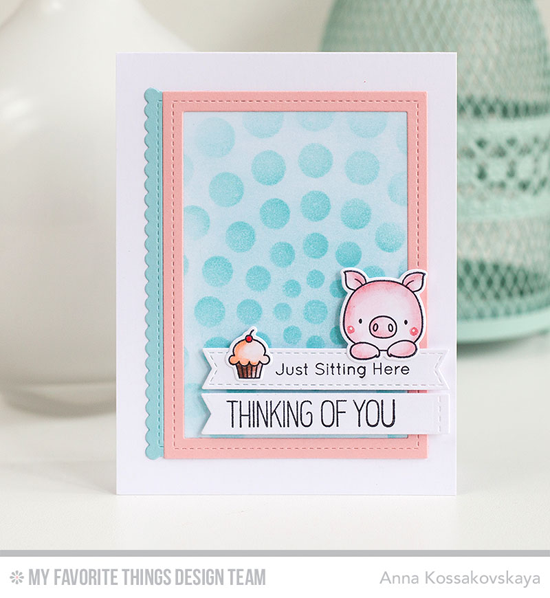 Handmade card from Anna Kossokovskaya featuring Birdie Brown Hog Heaven stamp set and Die-namics, Stitched Sentiment Strips, Stitched Rectangle Scallop Edge Frames and  Single Stitch Line Rectangle Frames Die-namics, and Circle Burst Stencil #mftstamps