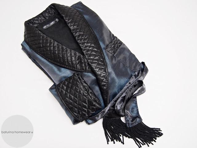 Morgenmantel für Herren Seide gesteppt lang Schwarz Blau gefüttert edel elegant Hausmantel britisch Dressing Gown Männer