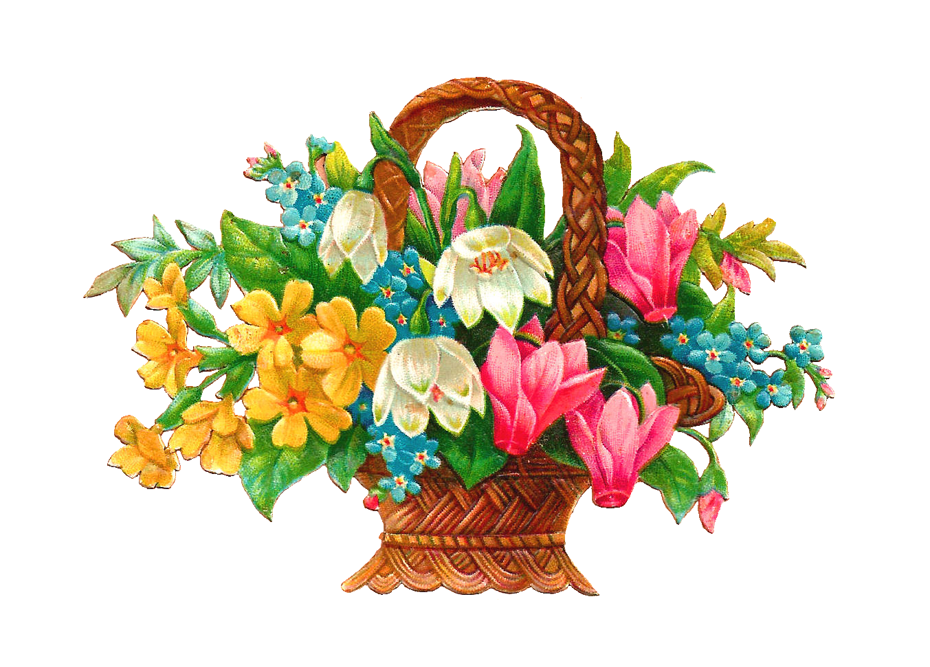 Antique Free Flower Basket Clip Art 2 Wicket Baskets Full of Wild Fl