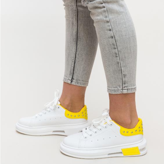 Adidasi femei albi cu galben si insertii metalice ieftini moderni