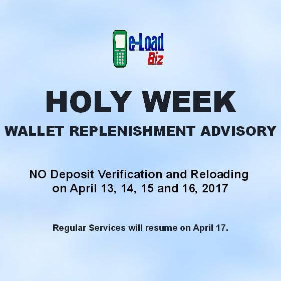 e-LoadBiz Advisory for Holy Week 2017