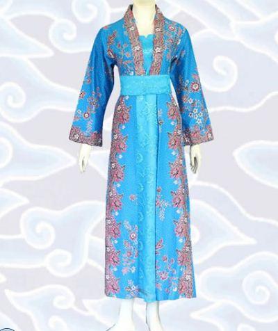 model gamis batik kombinasi elegan