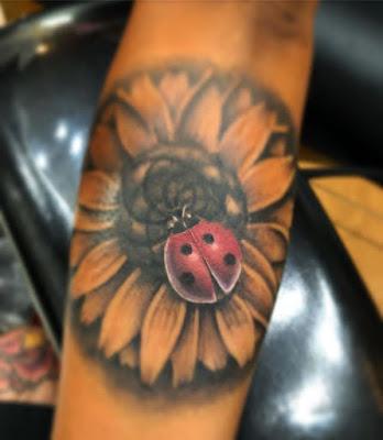 sunflower Ladybug Tattoo Ideas