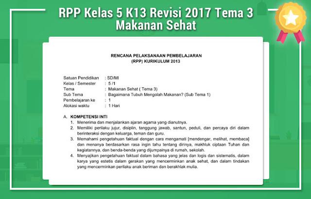 RPP Kelas 5 K13 Revisi 2017 Tema 3 Makanan Sehat