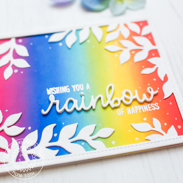 Sunny Studio Stamps: Over The Rainbow Rainbow Word Die Botanical Backdrop Dies Everyday Card by Mona Toth