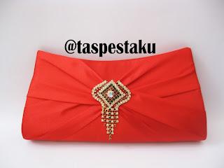 Tas Pesta Merah Cantik Bahan Satin Mewah Elegant Handmade