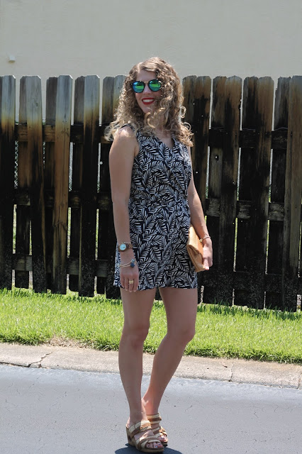 LOFT palm print romper, 4eursole hemp wedges, straw clutch, sunglasses
