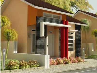 contoh gamabr warna cat depan rumah bagus